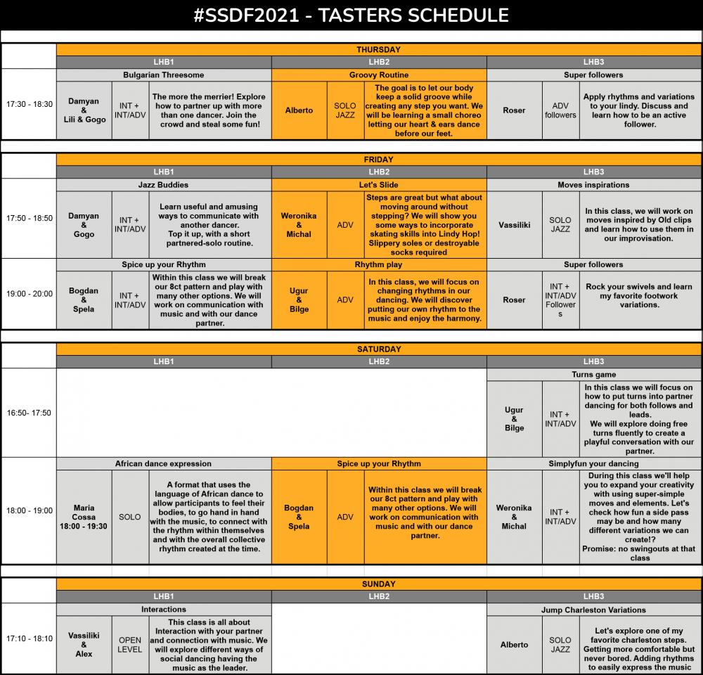 SSDF2021 - TASTERS SCHEDULE